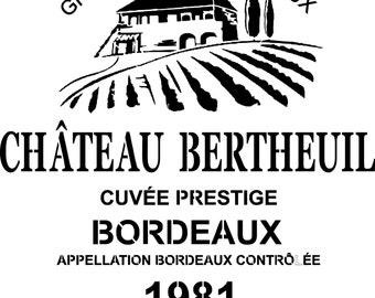 """Stencil """"Wine label"""" stencil to decorate how wine bottle, french touch"""