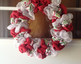 Christmas candy ribbon and mesh wreath