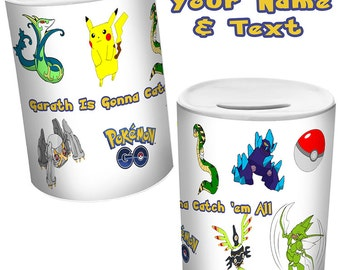 POKEMON Go Personalised MONEY BOX With Your Name & Text Sublimation Printed