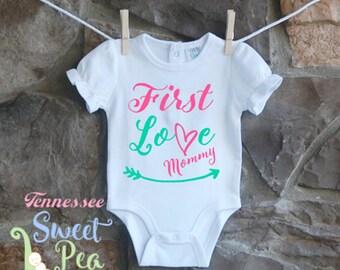 First Love Mommy, Mother's Day, Mommy's Little Girl, Baby Girl Ruffle Sleeve Bodysuit, Gift for New Mom, Mommy's Mini Me, Baby Shower Gift,