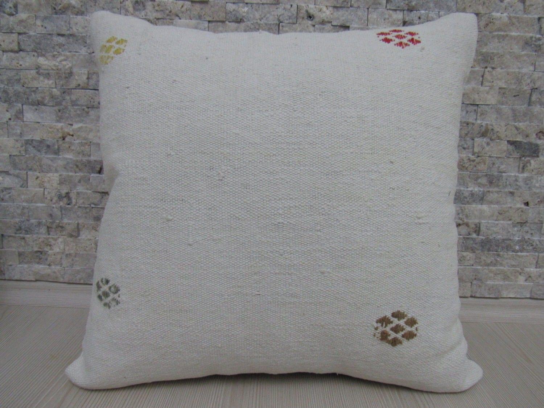 Large Size Kilim Pillow Cover 20 x 20 Decorative Floor Pillow