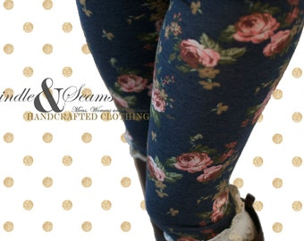 Infant to Girls Floral French Terry Leggings - MADE TO ORDER