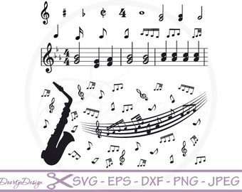 "MUSIC Clip Art: ""Music Notes"", SVG cut files music, EPS files, Music svg, png files, Instant Download, svg files Silhouette, Vector Graphics"