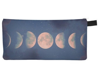 Moon Phase Pencil Case - Zip-up Pencil Case, Moon phases, Travel Makeup Bag, Clutch, Full Moon, Crescent Moon, Lunar Phases, Witchy Style