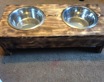 Hand Made Wooden Pet Food and Water Bowl Holder Wood Burnt Look with Pet Bowls