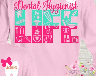 Dental Hygienist Life Monogrammed Personalized Customized Great Gift Idea