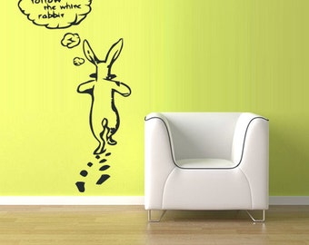 rvz1146 Wall Vinyl Sticker Follow Me White Rabbit Bunny Animal