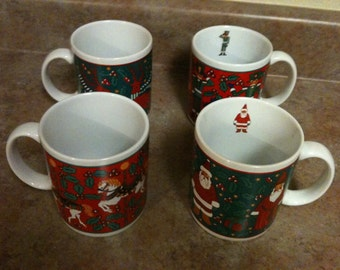 "Very Nice Set Of 4 Vintage Limited Edition ""Signature"" Christmas Coffee Mugs"