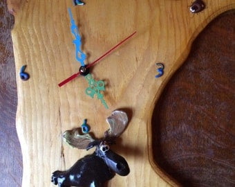 Marty Moose with Woodtick Tock Clock.