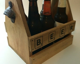 pallet wood bottle carrier, bottle barrier, 6 pack holder, wood 6 pack holder, wood bottle carrier, custom bottle carrier