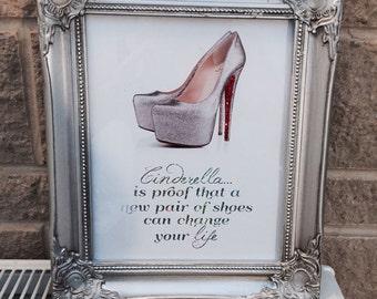 Silver Framed Shabby Chic Cinderella Louboutin Red SWAROVSKI Silver Foil Finish