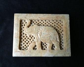 Carved Alabaster Trinket Box