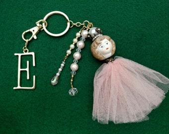 Ceramic Doll Key Chain, Purse Charm