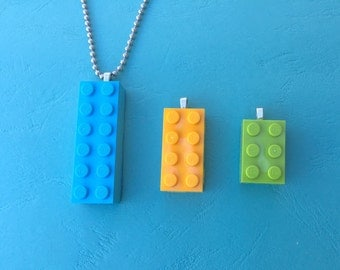 Lego necklace with 3 interchangeable Legos!