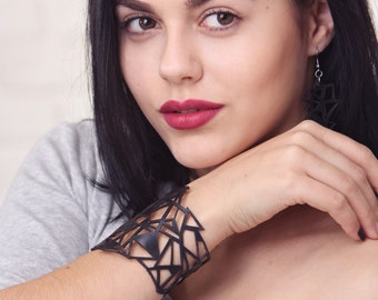 Fast Shipping! Black Leather Handmade Bracelet Cuff on Button Laser Cut Geometric Gothic Bracelet Wife gift Girlfriend Gift for Her GIfts