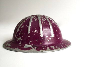 Vintage B. F. McDonald Company of Los Angeles Purple Hard Hat Helmet