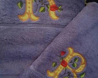 Luxury monogram embroidered bath towel