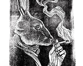 Smoking bunny hand pulled linoleum block print by Charles State