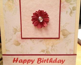 Birthday Card, handmade card, Happy Birthday, feminine birthday card, floral card, pastel card, MADE TO ORDER