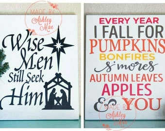 Reversible Fall/Christmas Sign