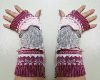 Upcycled repurposed eco friendly arm warmers Nordic pattern pink white grey