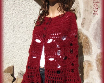 Cape Cape wool knitted red mohair crochet button Pearl
