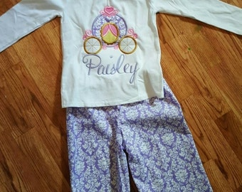 Birthday princess carriage outfit - embroidery- boutique outfit- girls birthday- purple- ruffle pants- birthday outfit