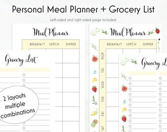 Meal Planner, Grocery List, Personal Inserts, Weekly Meal Planner, Health Planner, Menu Planner, Personal Planner, To Do List, Meal Planning