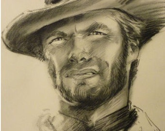 Clint Eastwood Pencil Drawing Matte Photo