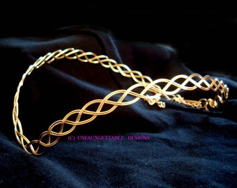 Gold plated celtic elven pointed circlet - will fit men or women ren sca larp