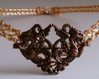 Celtic Dragons Warrior Crown Gold Metal Circlet adjustable for men and women larp ren sca