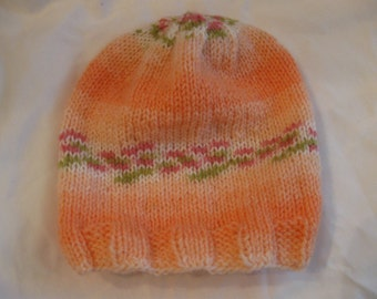 Peach with flowers baby hat