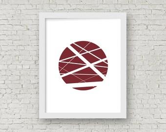 Wine Abstract Line Circle Digital Wall Art, Home Decor, Modern Printable Art