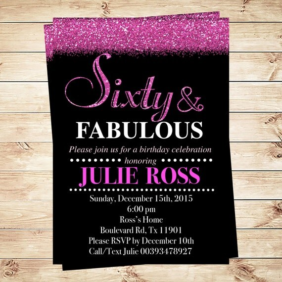 glitter glam sixty and fabulous birthday party invitations  pink, Birthday invitations
