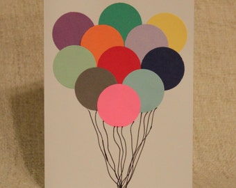 Big Bunch of Multicolored Balloons on Blank Birthday Greeting Card with Envelope