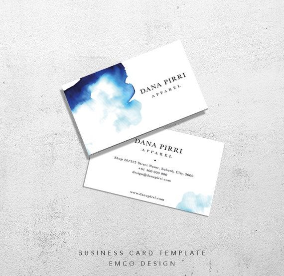 Business card template shop watercolour business card