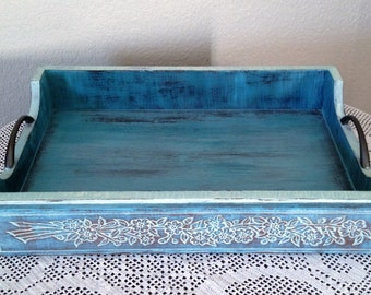 Serving tray functional art shabby chic blue white grey dreamy floral coastal French country impressionistic display elegant wooden tray