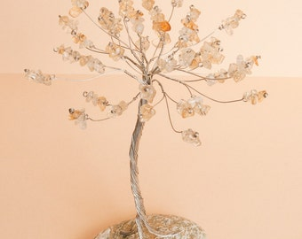 Tree from twisted wire, citrine gemstones