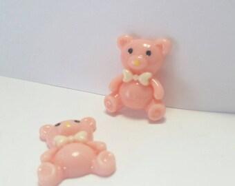 Pink teddy bear,cabochon, flatback, resin, embellishment, scrapbooking, cardmaking,hairbows supply, cellphone embellishment, teddy bear