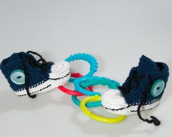 Dark blue crochet baby sneakers