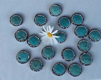 Turquoise Coin Bead with CZ all around