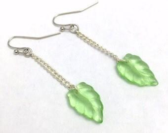 Sale - 25% Off FREE SHIPPING Long Silver Chain Green Glass Leaf Dangle Earrings