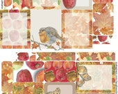 Hand Painted Autumn Planner Sticker Kit - Happy Planner, ECLP, chipmunk stickers, robin stickers, caramel apple stickers