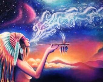 "Spirit. Original  acrylic painting on canvas. 12"" x 16"""