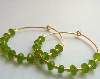 Gold Hoops Earrings, Gold filled and Green quartz large hoops