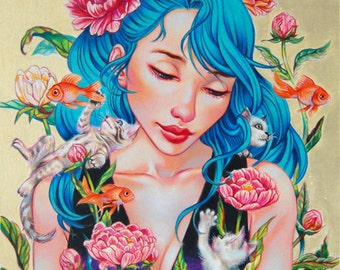 "Spring peonies kitties goldfishes art print,fantasy art,""Springtime"" Hand Embellished LIMITED EDITION archival print, pop surrealism"