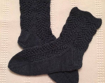 EUR Size 36-37 / US 6 / UK 4 / Handknitted Warm Wool Socks, Blue, Lace Knit