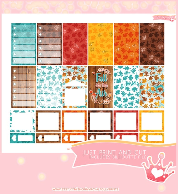 Hello Fall Kit Full Boxes  | Printable Planner Stickers | Happy Planner Boxes | Instant Digital Download with Silhouette file