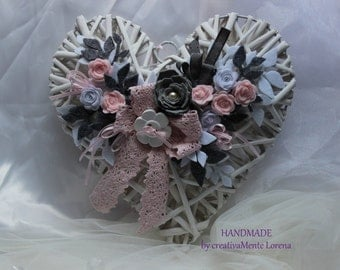 big heart wicker decorated with flowers and ribbons