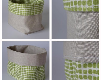 Fabric bin basket, fabric storage, green dots, reversible, can be used on both sides